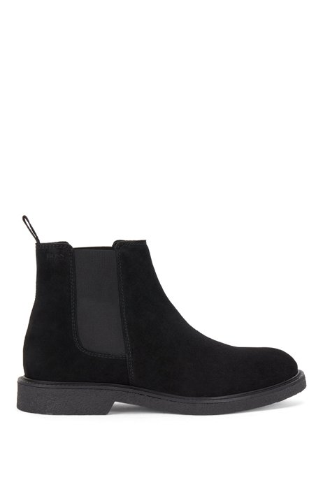 Suede Chelsea boots with embossed logo and leather lining, Black