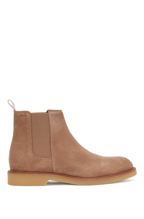 Suede Chelsea boots with embossed logo and leather lining, Beige