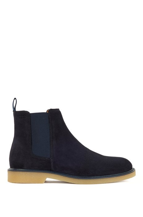 Suede Chelsea boots with embossed logo and leather lining, Dark Blue