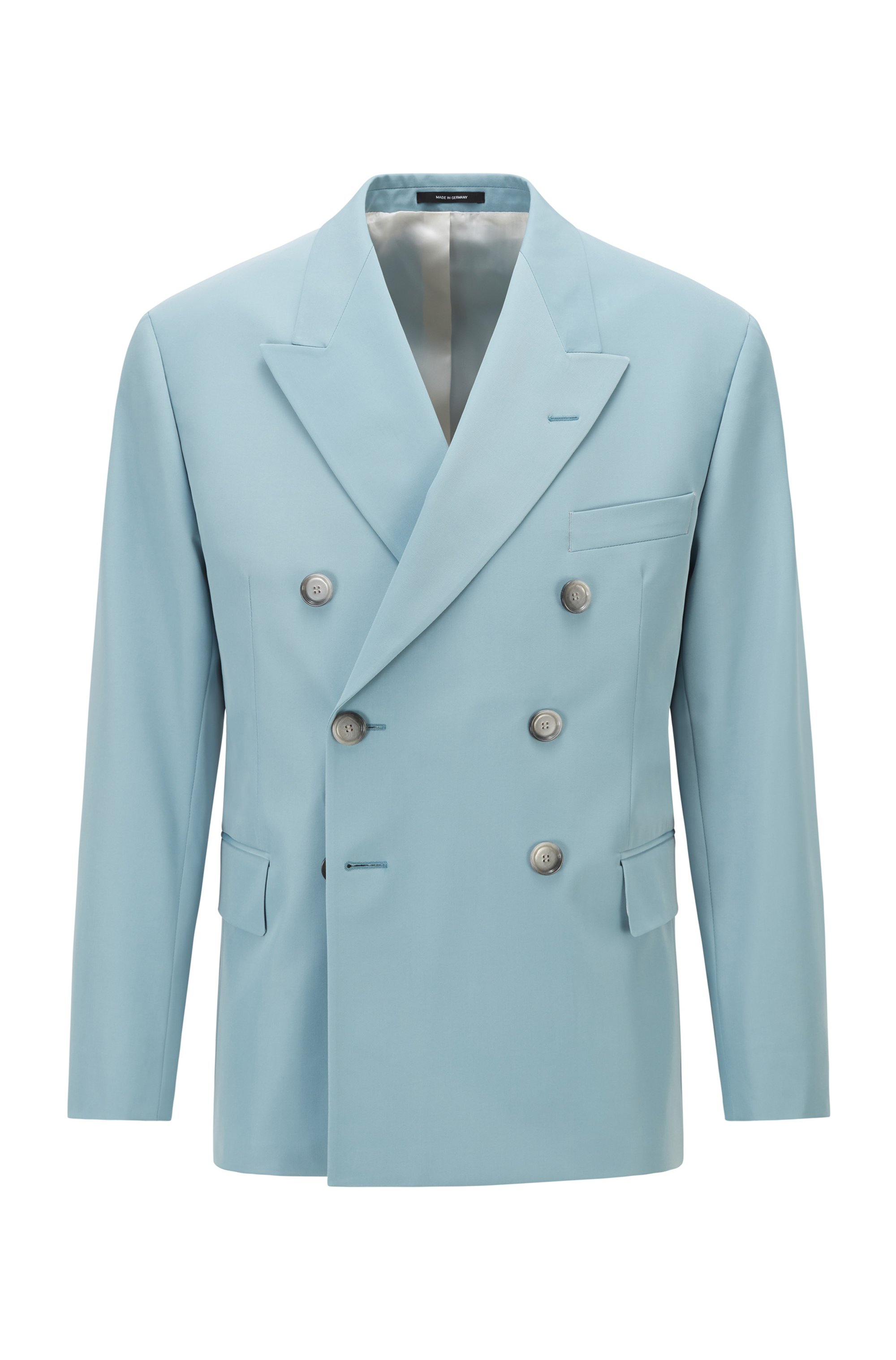 Double-breasted jacket in Italian twill, Light Blue