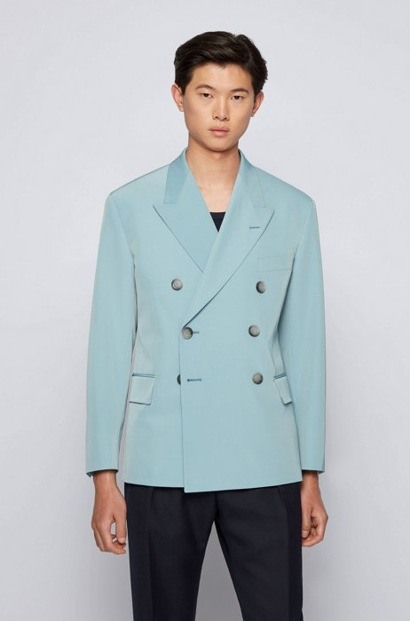 Double-breasted jacket in Italian twill, Light Blue