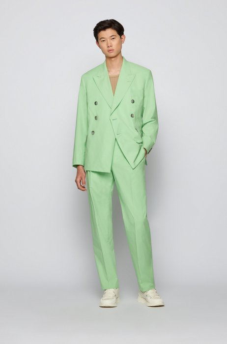 Regular-fit suit in stretch cotton, Light Green