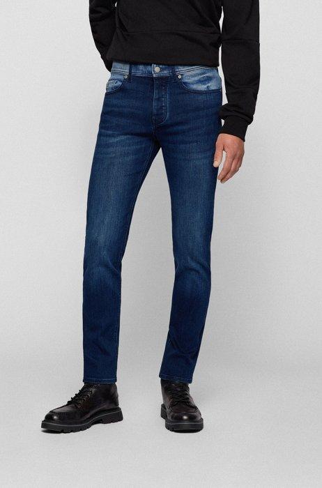 Tapered-fit jeans van een denimmix met leren patch, Donkerblauw