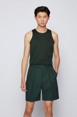 Tank top in pure-cotton jersey, Dark Green