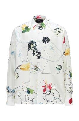 Camicia relaxed fit in seta italiana con stampa floreale, Bianco a motivi