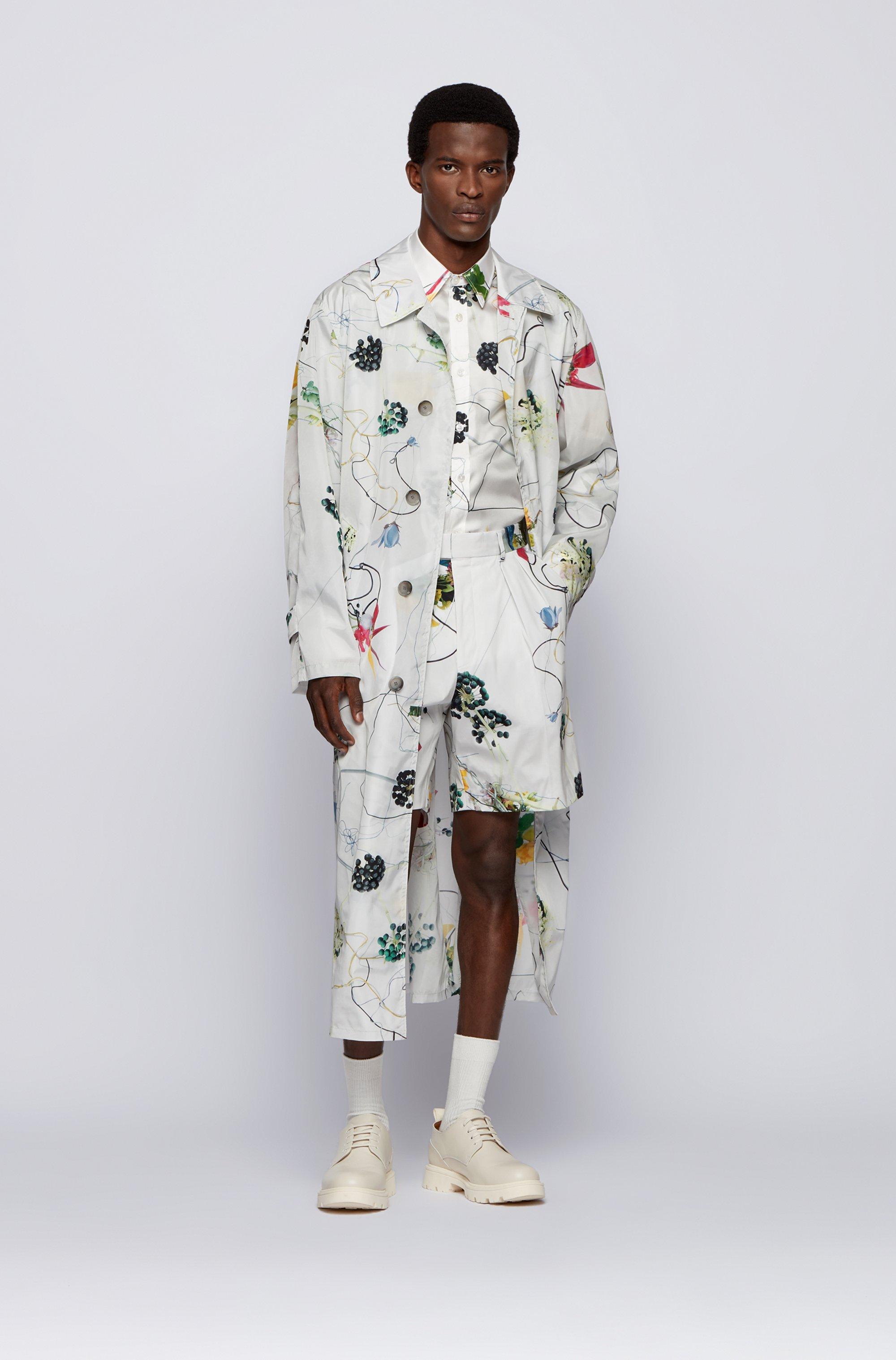 Camicia relaxed fit in seta italiana con stampa floreale