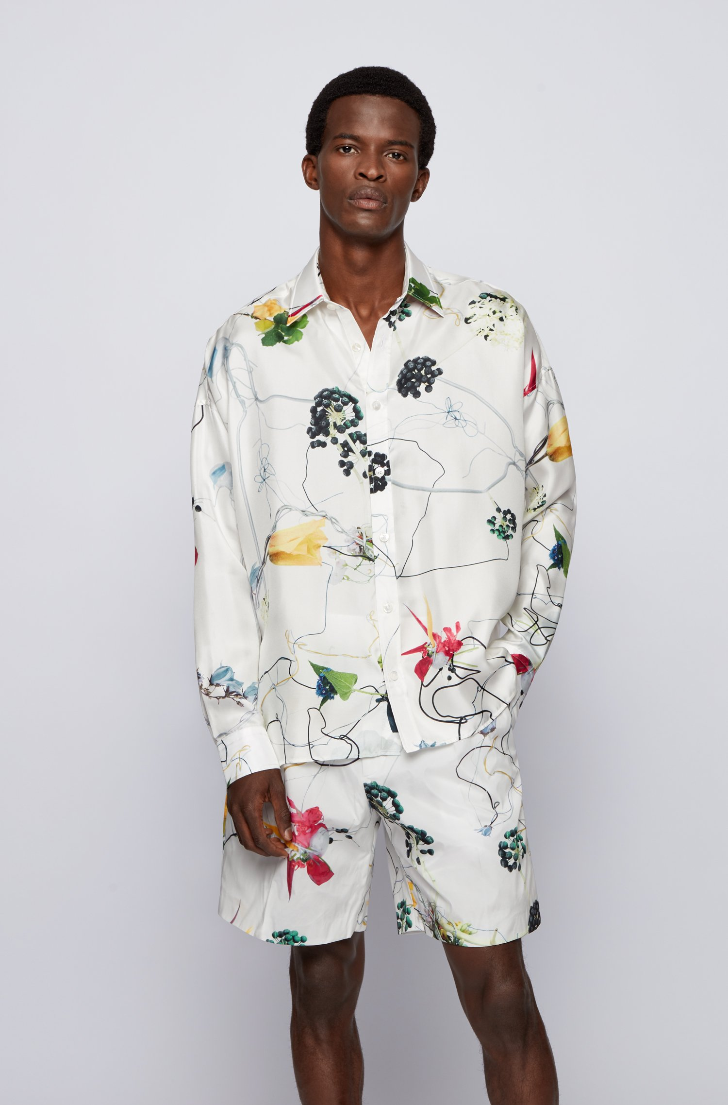 Relaxed-fit shirt in Italian silk with floral print, White Patterned