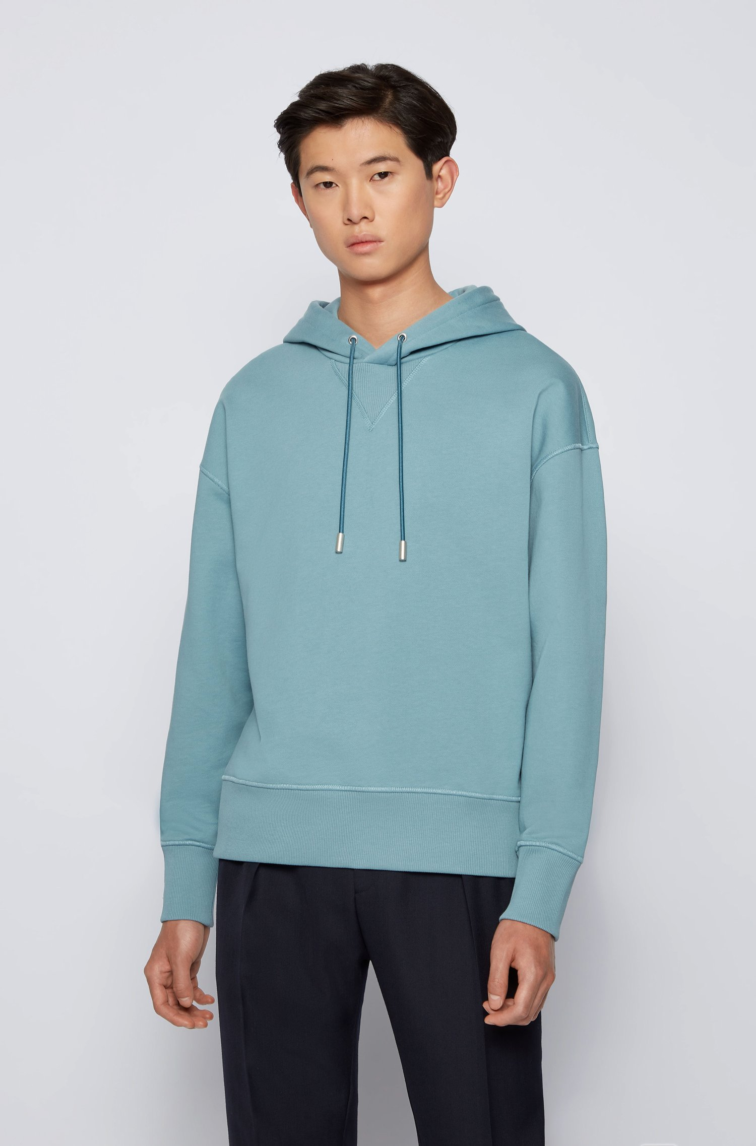 Hooded sweatshirt in French terry cotton with liquid finishing, Light Blue