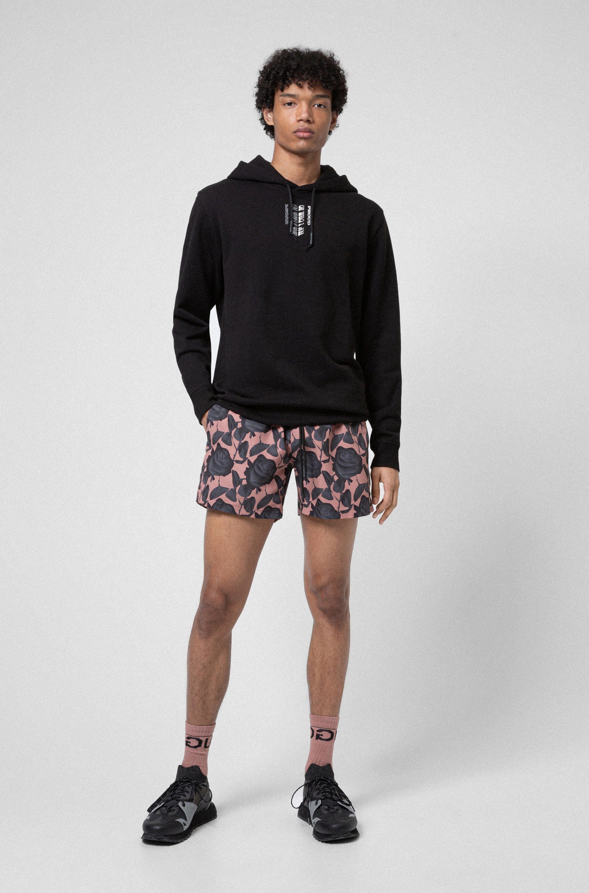 Organic-cotton hooded sweatshirt with collection-themed print