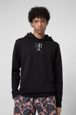 Organic-cotton hooded sweatshirt with collection-themed print, Black