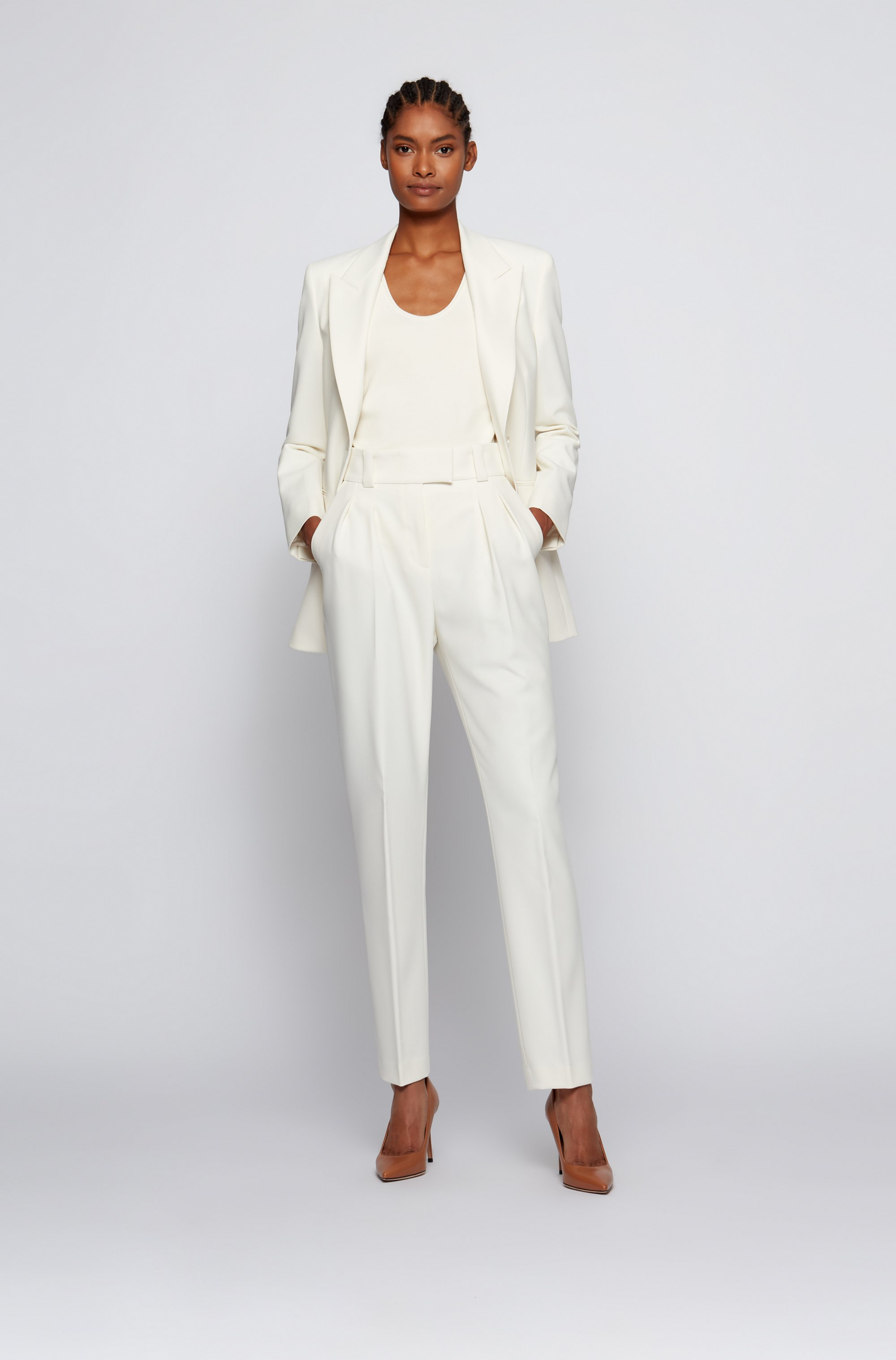 Single-breasted jacket in stretch twill with peak lapels