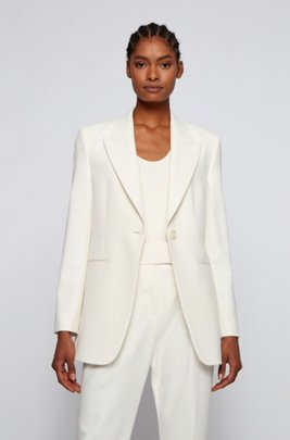Single-breasted jacket in stretch twill with peak lapels, White