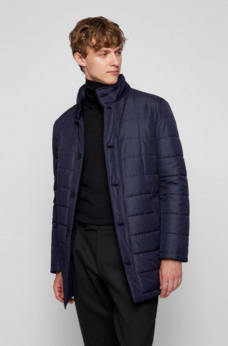 Slim-fit padded coat in water-repellent fabric, Dark Blue