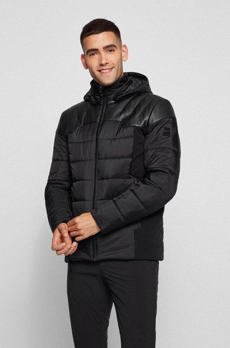 Waterafstotende hybride jas met uitneembare bodywarmer en capuchon, Zwart