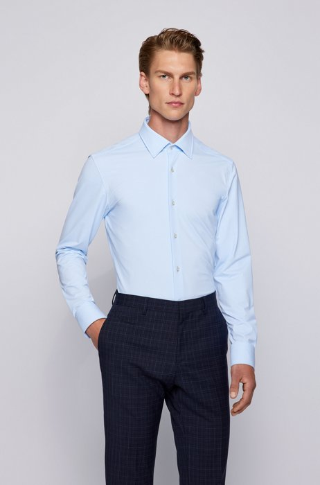 Slim-fit shirt in Italian performance-stretch jersey, Light Blue