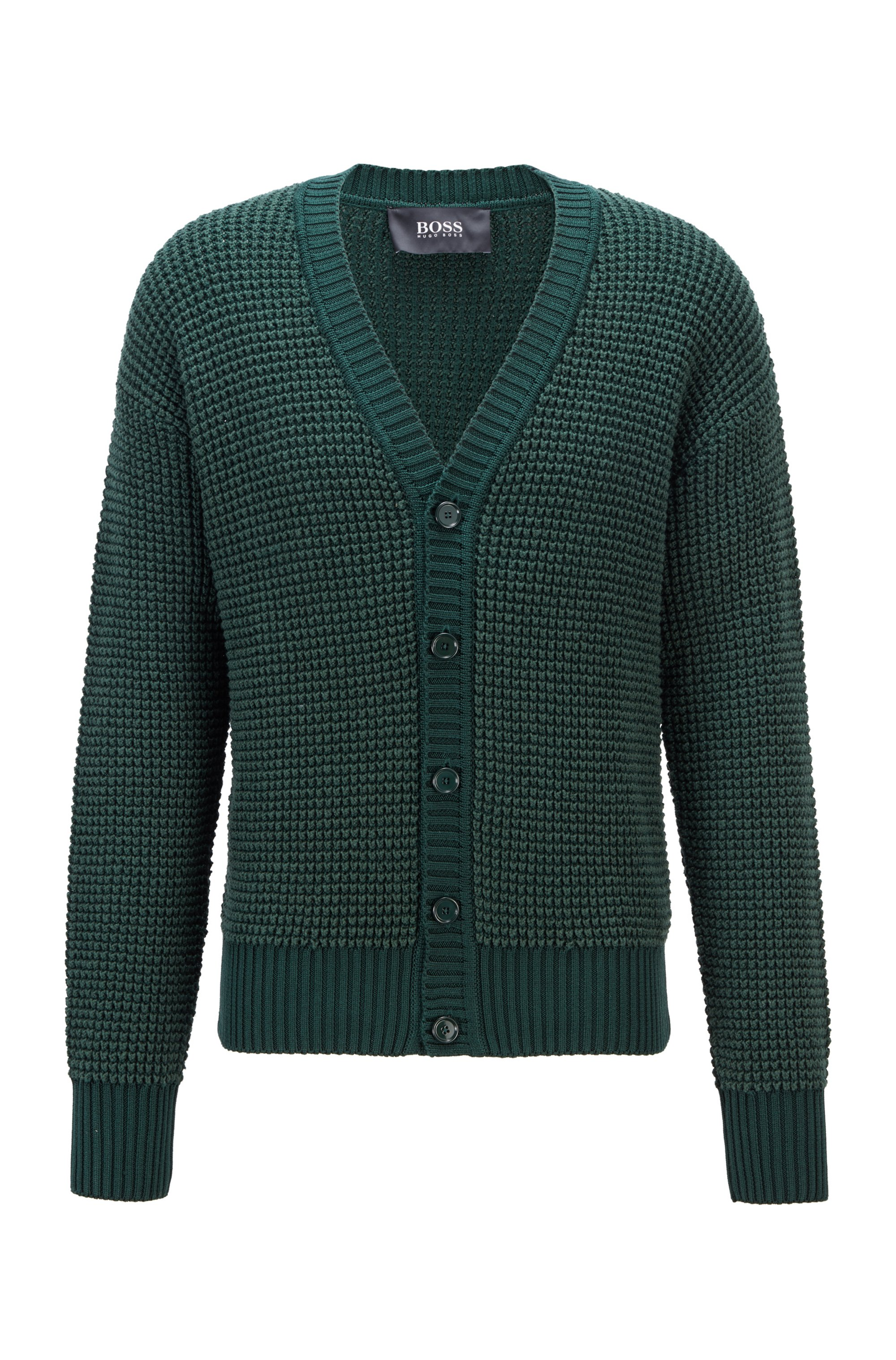 Silk-blend cardigan with mixed structures, Dark Green