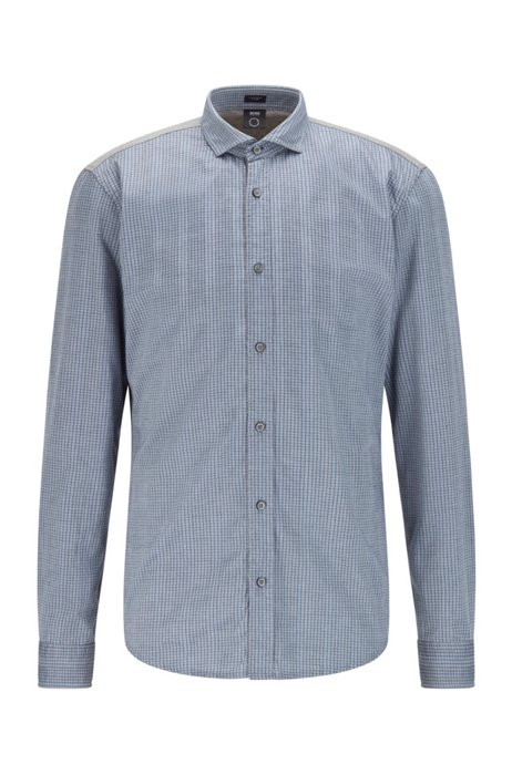 Slim-fit shirt in mixed repurposed materials, Grey