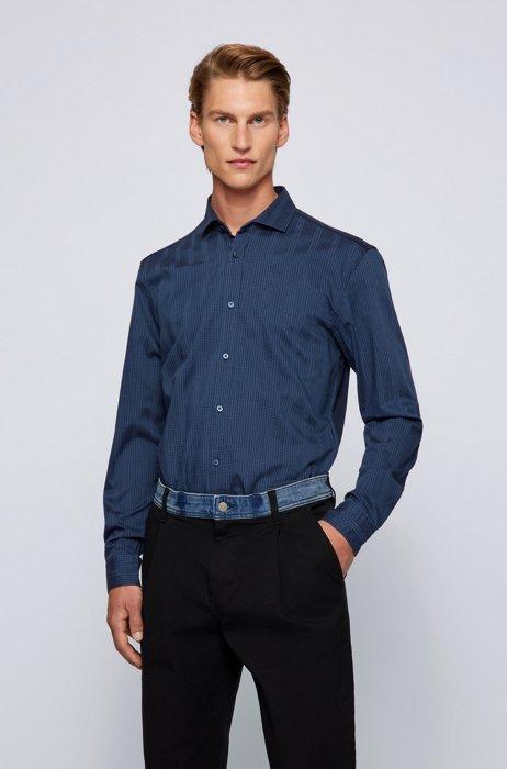 Camisa slim fit de una mezcla de materiales reutilizados, Azul oscuro