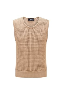 Knitted tank top with chunky structure, Light Brown