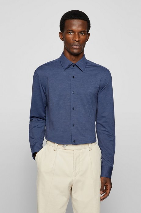 Melange slim-fit shirt in Italian performance-stretch jersey, Blue