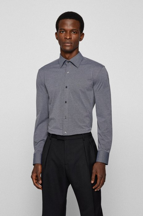 Melange slim-fit shirt in Italian performance-stretch jersey, Grey