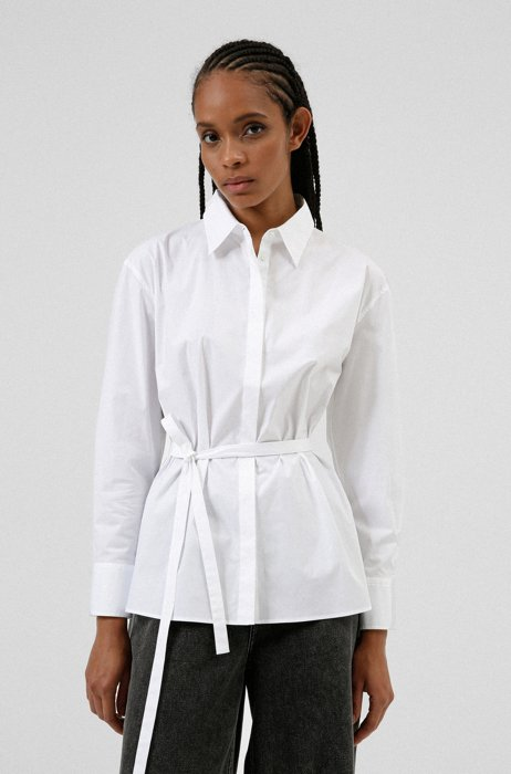 Oversized-fit belted blouse in stretch cotton, White