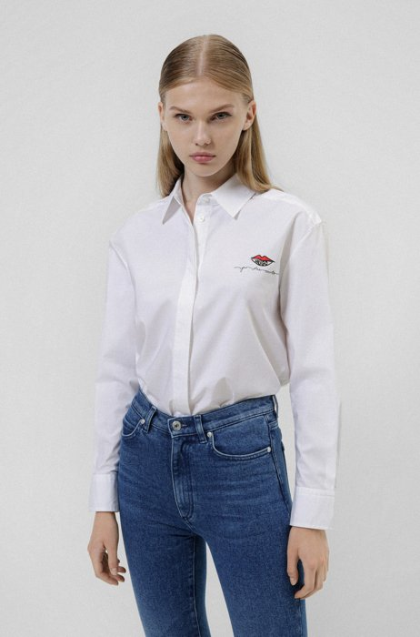 Oversized-fit blouse in stretch cotton with kiss logo, White
