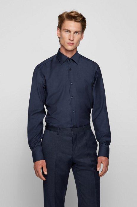 Slim-fit shirt in responsible virgin-wool poplin, Dark Blue