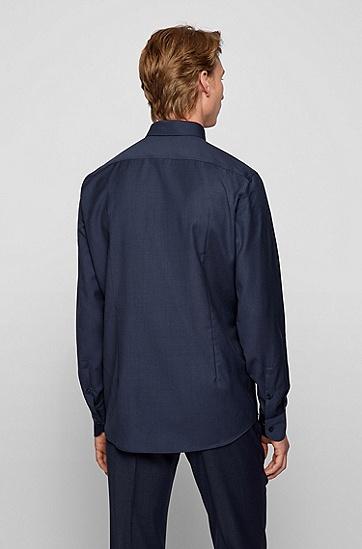 初剪羊毛府绸面料修身衬衫,  405_Dark Blue