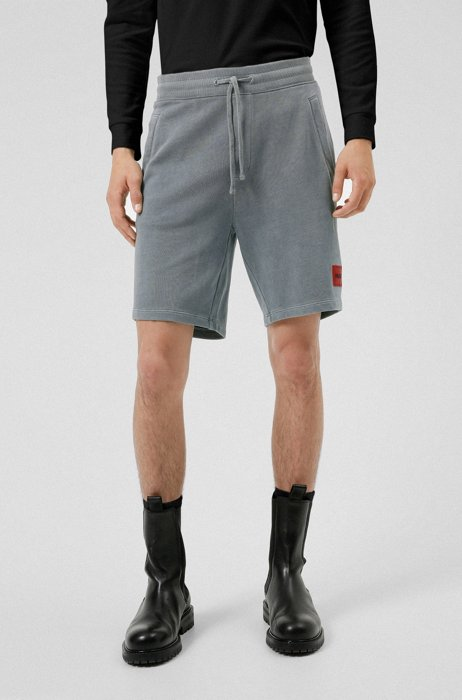 Relaxed-fit shorts in cotton with red logo label, Light Blue