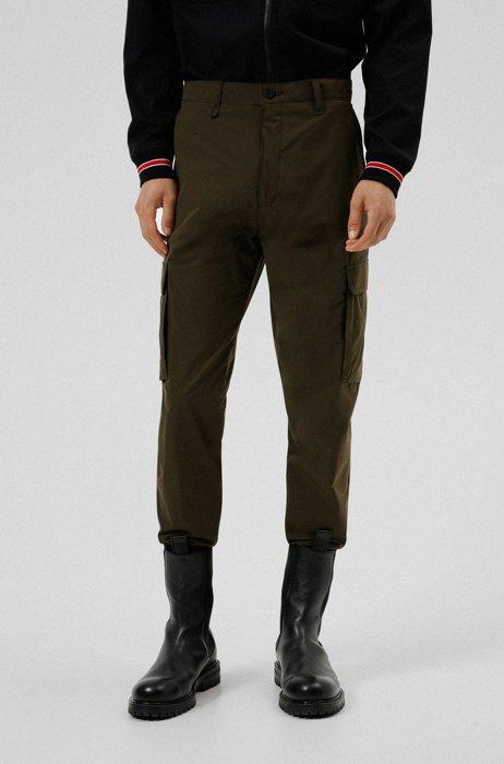 Cuffed slim-fit cargo trousers in performance fabric, Dark Green
