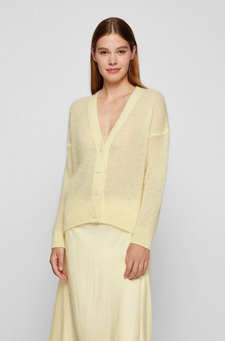 Relaxed-fit cardigan with V-neck and dropped shoulders, Light Yellow