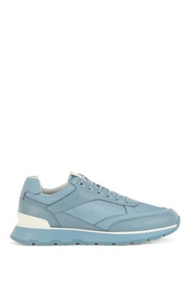 Low-top trainers in mixed materials, Light Blue