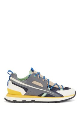 Colour-block trainers with bonded leather accents, Light Beige