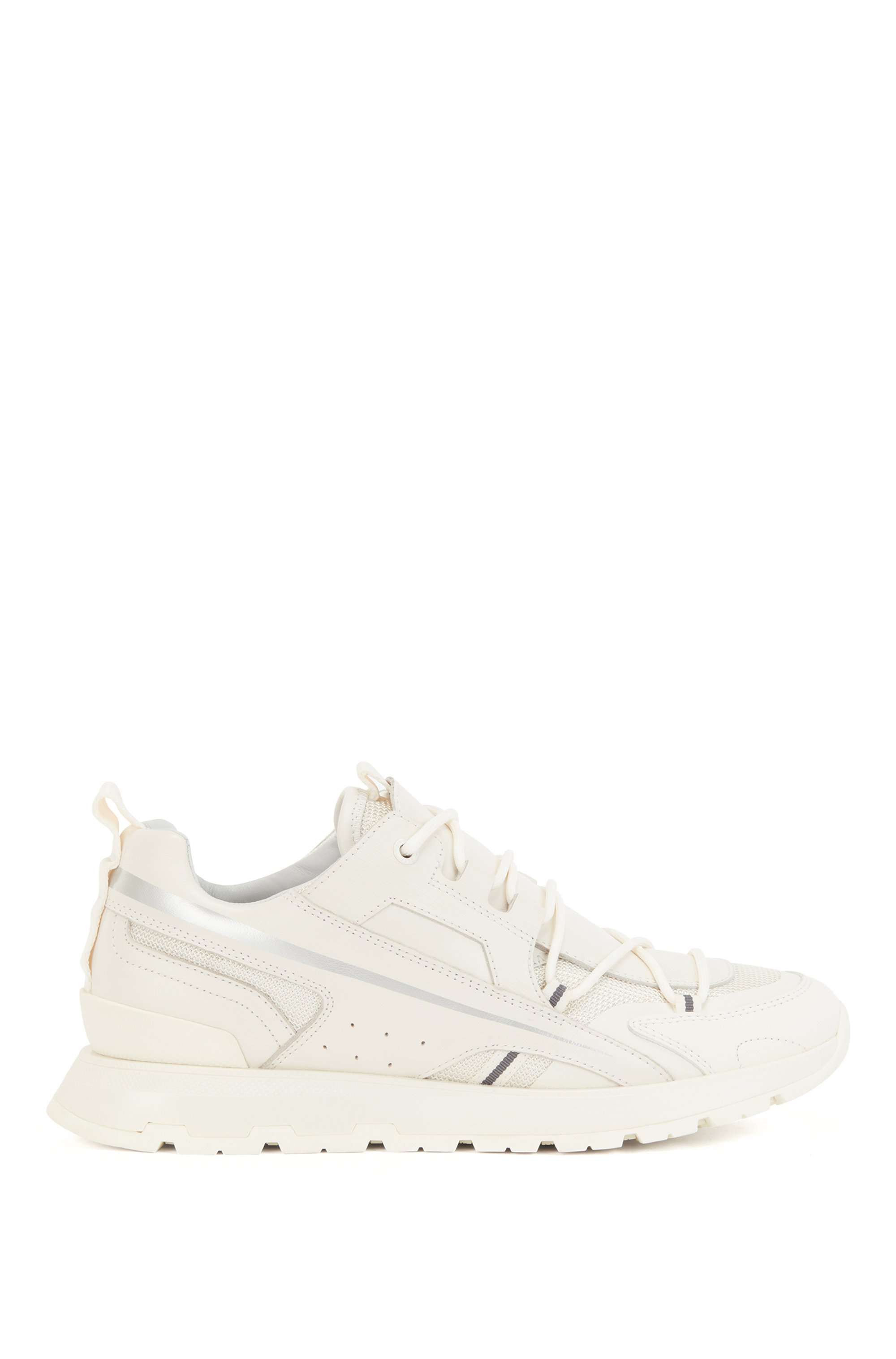 Low-top trainers in mixed materials with metallic stripe, White