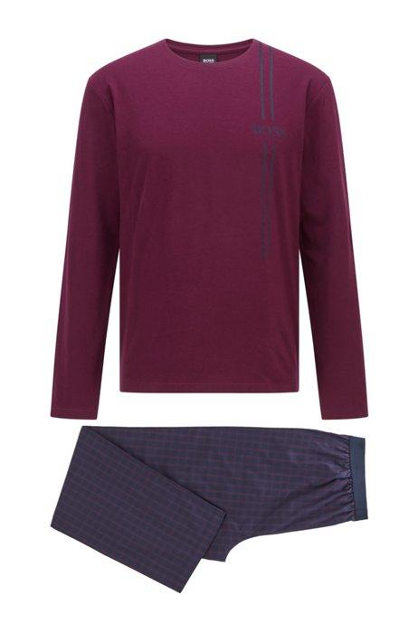 Logo pyjama set with checked bottoms, Dark Purple