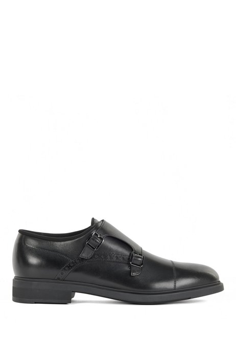 Italian-leather monk shoes with Outlast® lining, Black