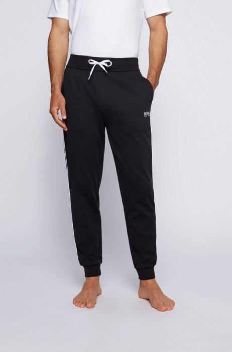 Jogginghose aus Baumwoll-Mix mit Piqué-Struktur und Logo, Schwarz