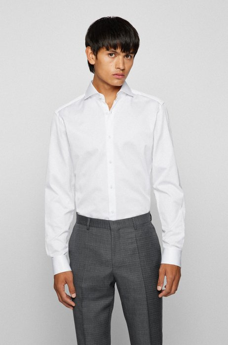 Slim-fit shirt in structured Italian cotton, White