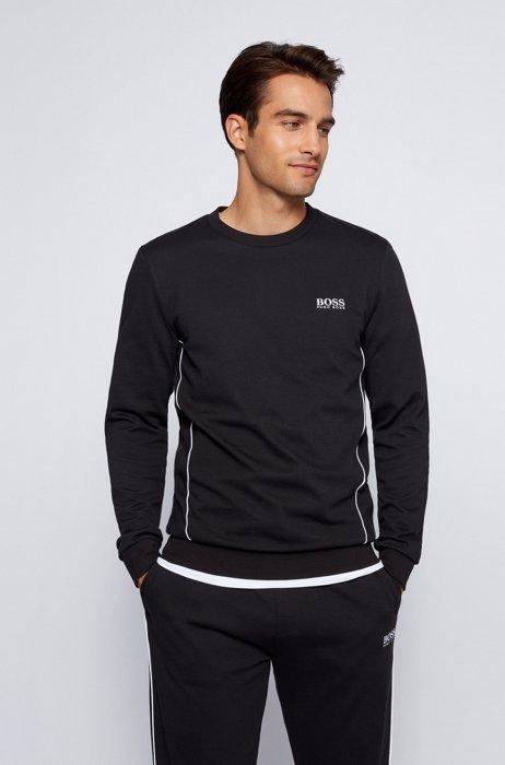 Sudadera homewear con logo en piqué de mezcla de algodón, Negro