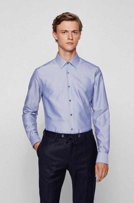 Chemise Slim Fit en coton italien à chevrons, Bleu