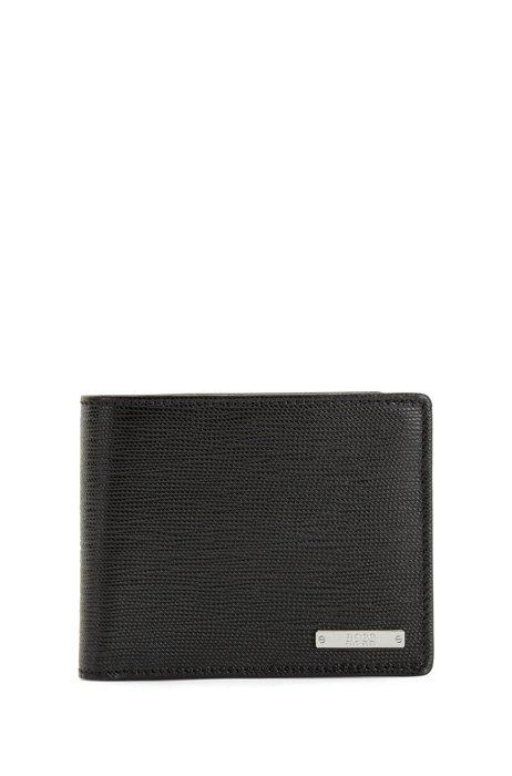 Billfold wallet in Italian leather with logo plate, Black