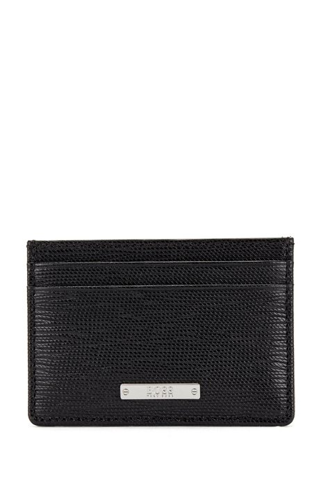 Card holder in Italian leather with logo plate, Black