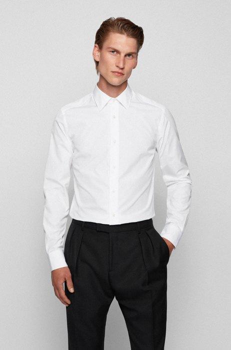 スリムフィットシャツ イタリアンコットン ポイントカラー, ホワイト