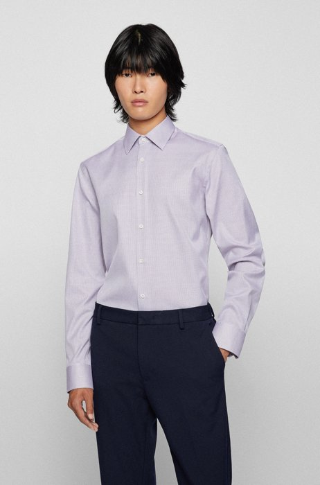 Slim-fit shirt in micro-structured wrinkle-resistant Italian cotton, Light Purple