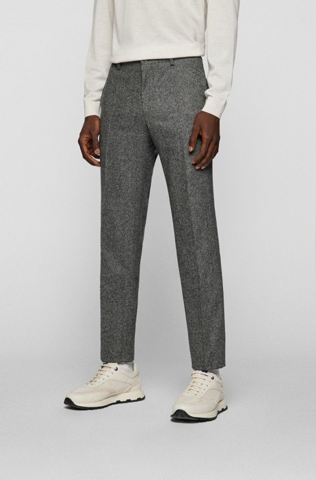 Slim-fit trousers in a wool blend, Grey