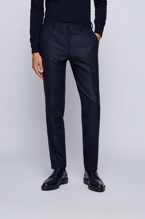 Slim-fit trousers in a wool blend, Dark Blue