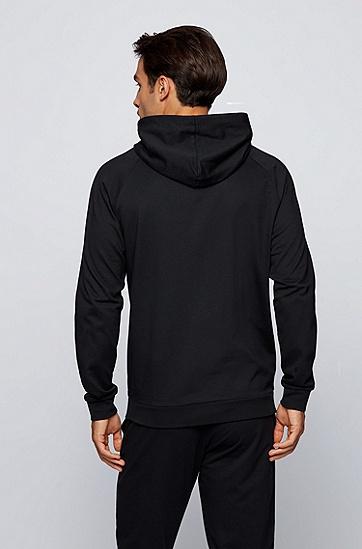 条纹徽标装饰毛圈棉布家居夹克,  001_Black