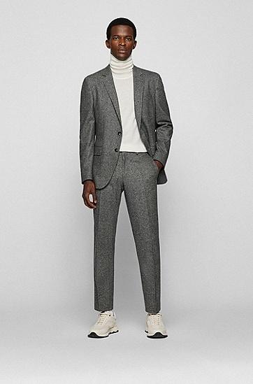 肘部贴片混色面料修身夹克,  030_Medium Grey