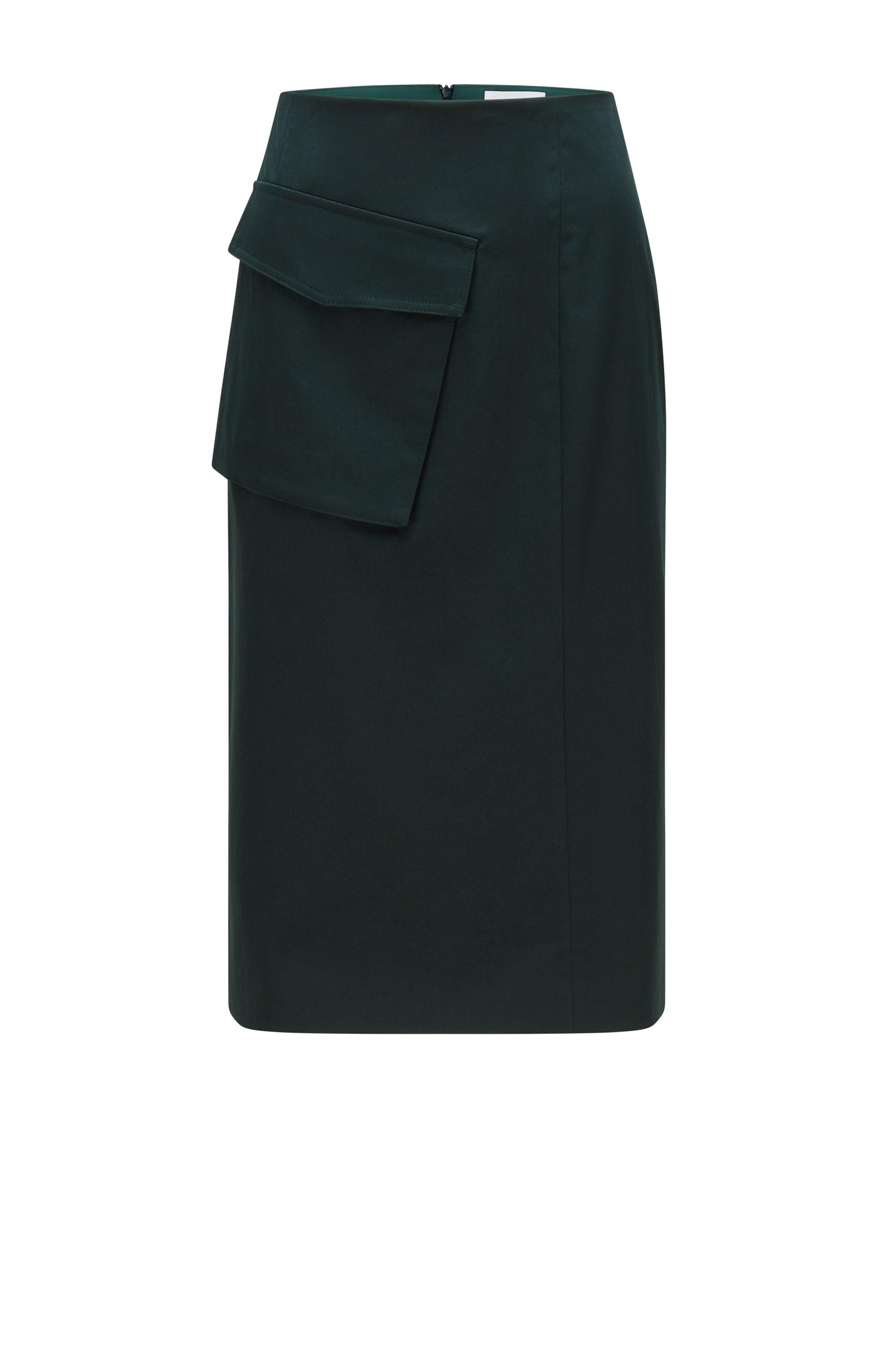 Jupe crayon en coton biologique stretch avec poche asymétrique, Vert sombre